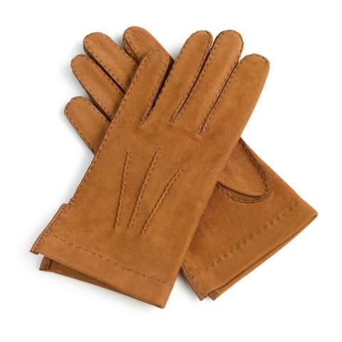 Guantes de piel marrón forro conejo cosido a mano