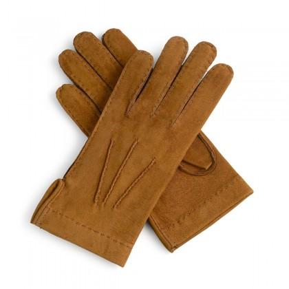 Guantes de piel marrón forro franela cosido a mano