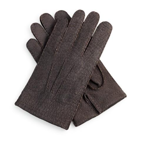 Guantes de piel negro forro franela cosido a mano